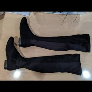 Black stretch over the knee flat boots